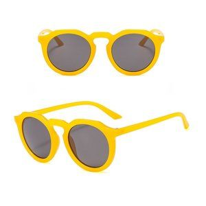 Classic Hip Hop Vintage Style Shades Unisex Round Yellow